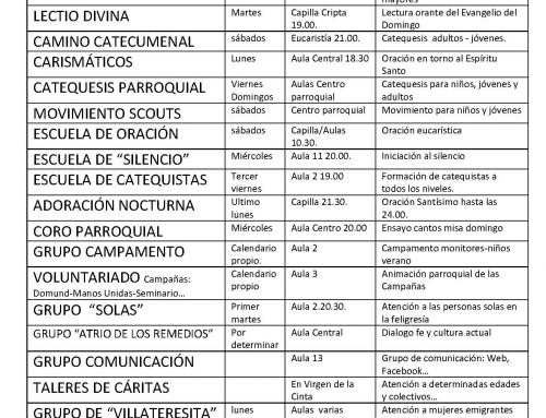 CUADRANTE DE LOS GRUPOS PARROQUIALES 2017-2018