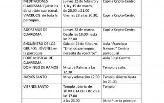CALENDARIO DE CELEBRACIONES Y ACTIVIDADES DURANTE LA CUARESMA Y SEMANA SANTA .