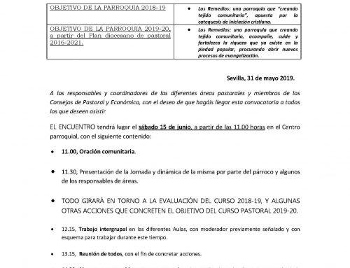 II ENCUENTRO DE CURSO DE LOS GRUPOS DE LA PARROQUIA DE NUESTRA SEÑORA DE LOS REMEDIOS.