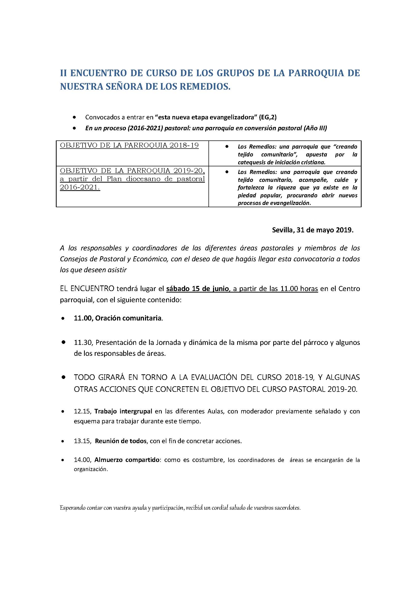 ENCUENTRO DE LOS GRUPOS DE LA PARROQUIA DE NUESTRA SEÑORA DE LOS REMEDIOS