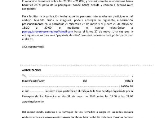 CRUZ DE MAYO VIERNES 31 A LAS 19:00